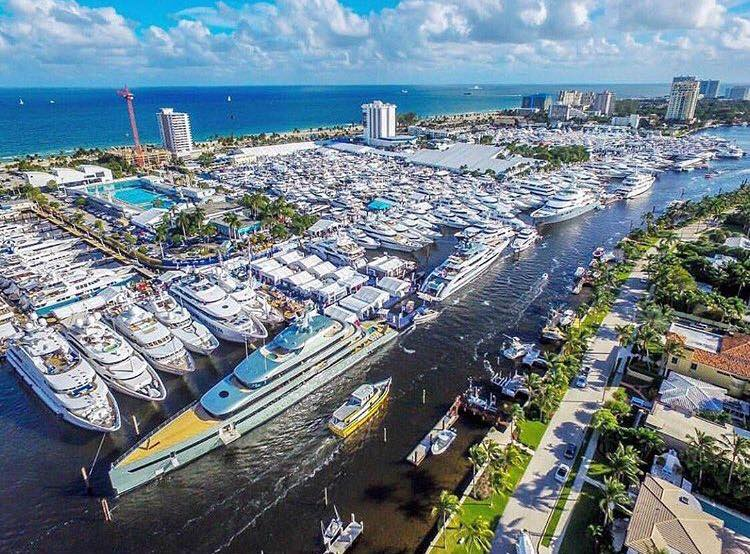 Aerial View of the Miami Boat Show with Kusler Yachts Hatteras Yachts and Regulator Marine