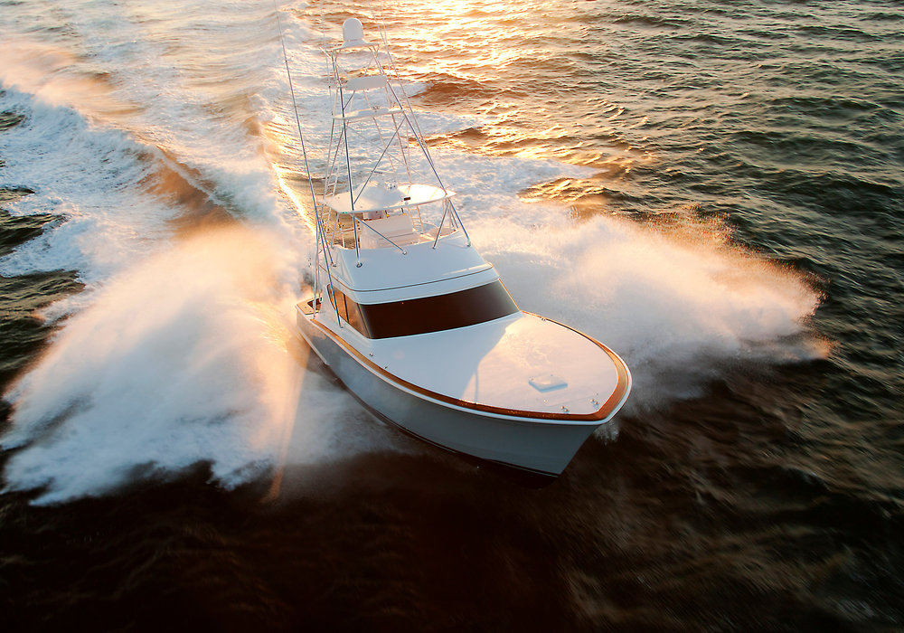Aerial view of the Hatteras GT60 on display at the Miami Beach Boat show with Kusler Yachts