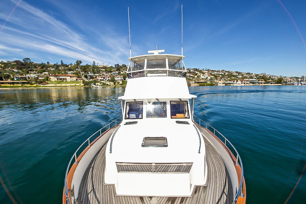 Bow view Point Loma and Grand Banks 47 for sale by Kusler Yachts
