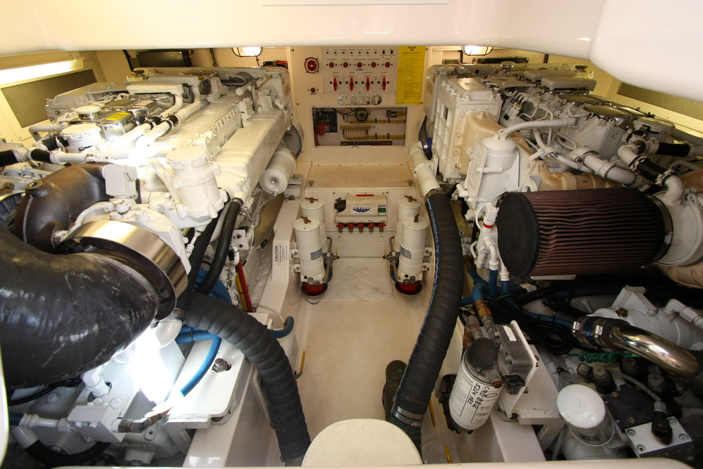 View of Cabo 40 Engine Room with twin MAN 800 Common Rail Engines