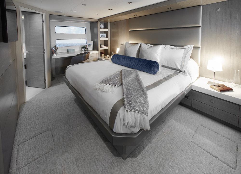 Master Stateroom Hatteras 70 Motor Yacht For Sale by Kusler Yachts San Diego California Hatteras dealer.