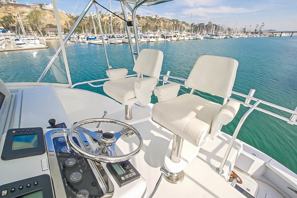 """Flybridge View """"DETERMINED"""" Hatteras Yachts for sale by Kusler Yachts California Yacht Brokers"""