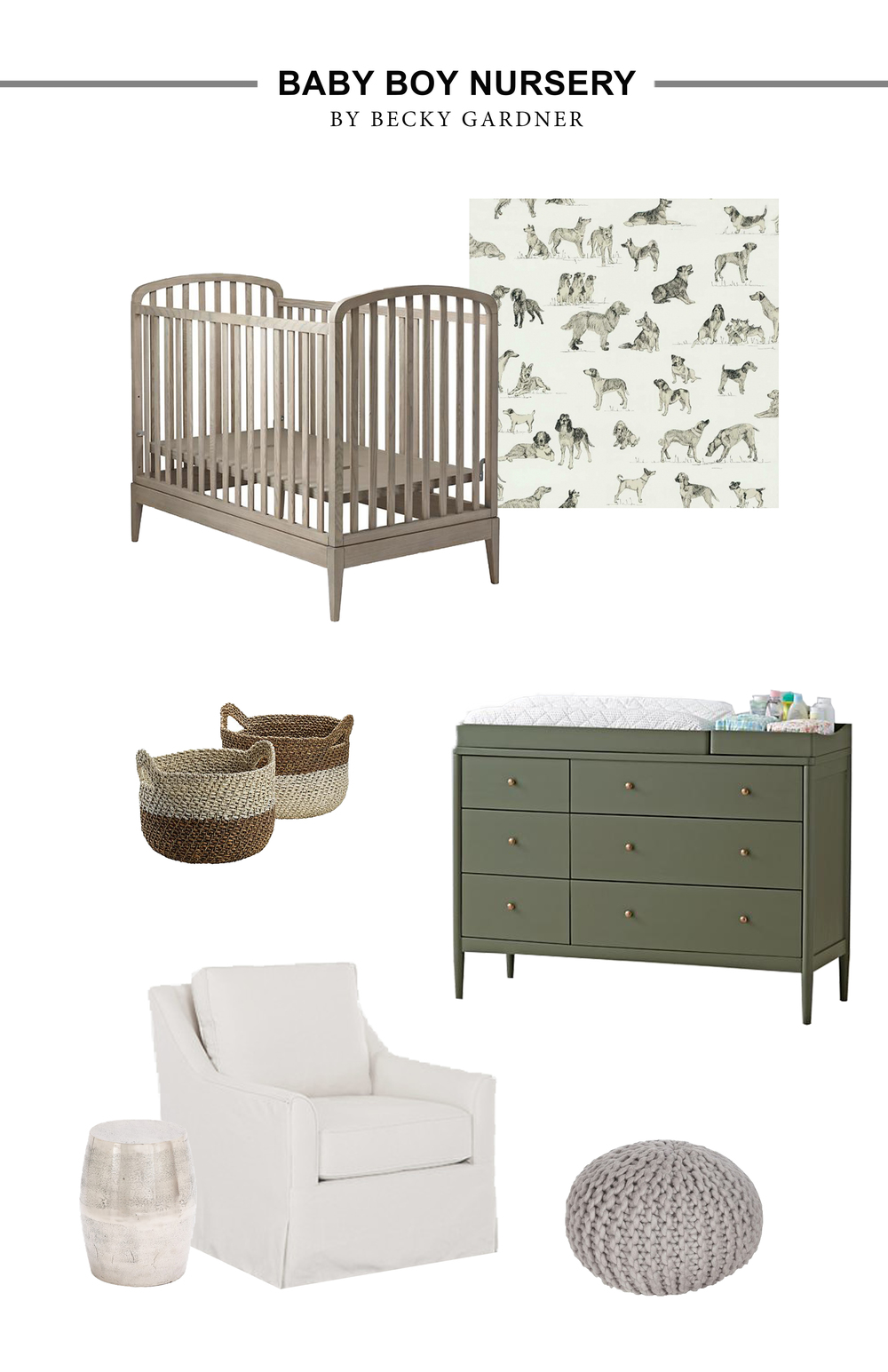 The cutest baby boy nursery! Such fun wallpaper and the green changing table is to die for! Click the picture to find out where you can get these items.