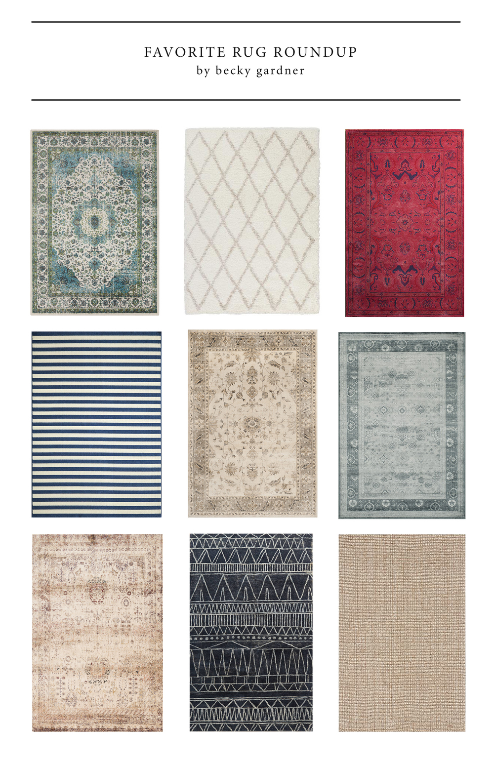 Area rug roundup! Click the link to see where you can get these beauties.