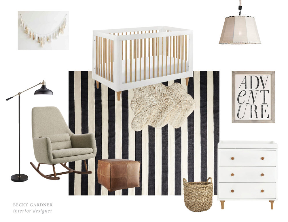 The cutest neutral nursery! Get the look! Items from Urban Outfitters, AllModern, Restoration Hardware, Anthropologie, CB2, and Target.