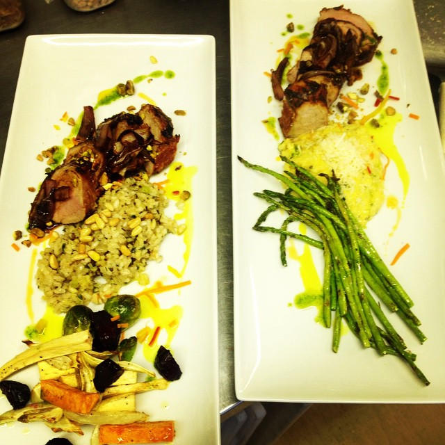 Roasted pork loin, root vegetables, creamy polenta, grilled asparagus and risotto.... Amazing!!