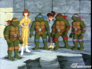Teenage Mutant Ninja Turtles and April in her fabulous yellow jumpsuit.