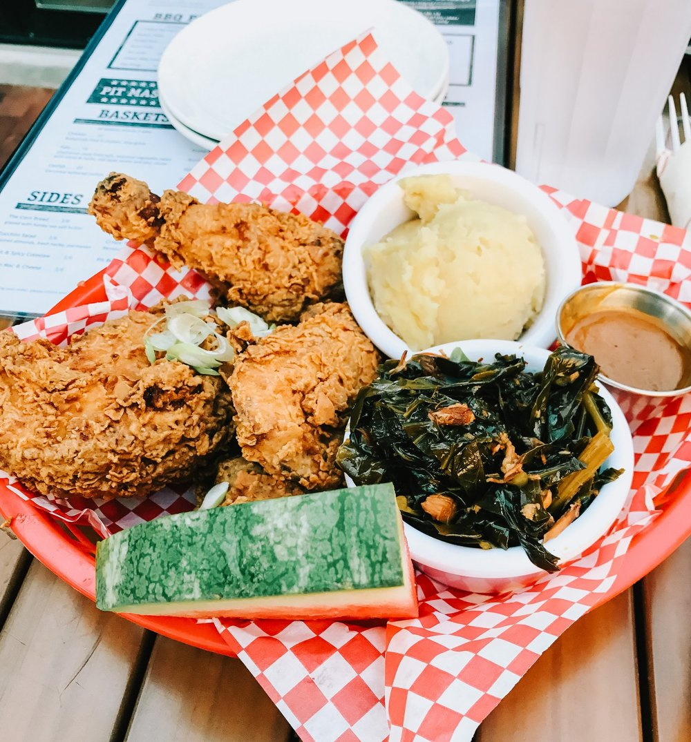The famous watermelon and fried chicken platter
