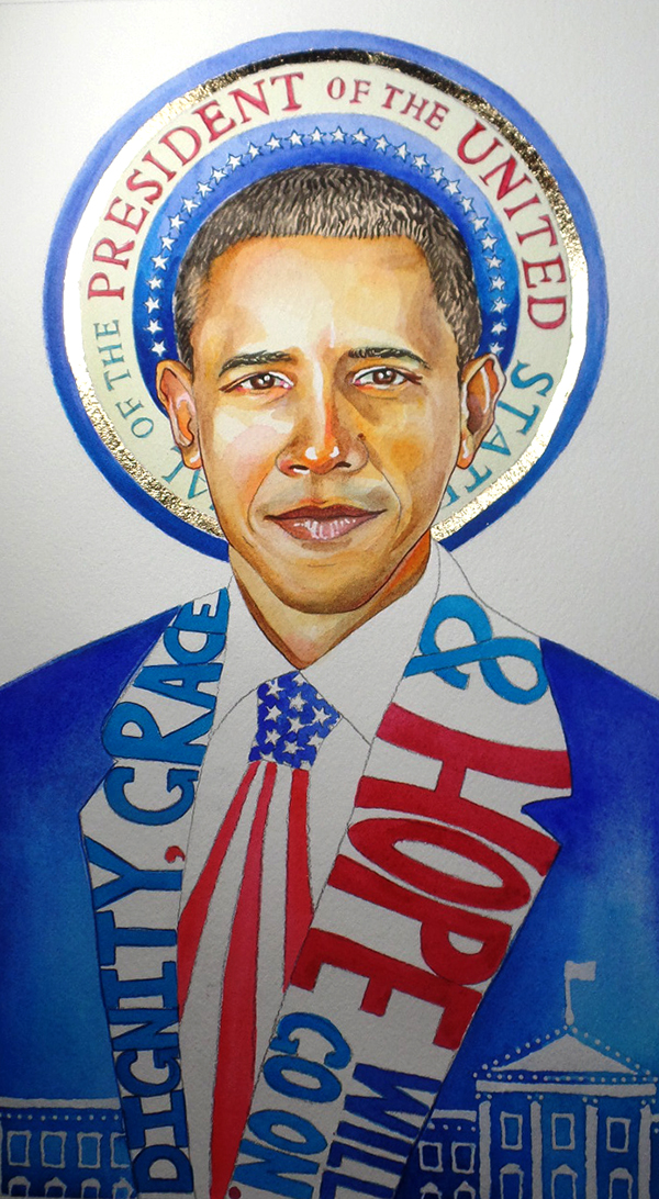 "'President of the United'  - ORIGINAL PAINING SOLD 7x11"" Prints available."