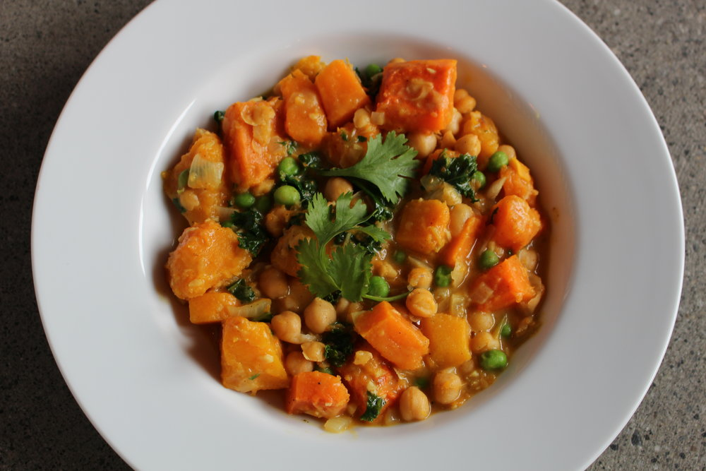 yam, chickpea & kale stew