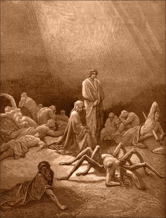 Arachne in Gustave Doré's illustration for Dante's Purgatorio of the Divine Comedyseries.
