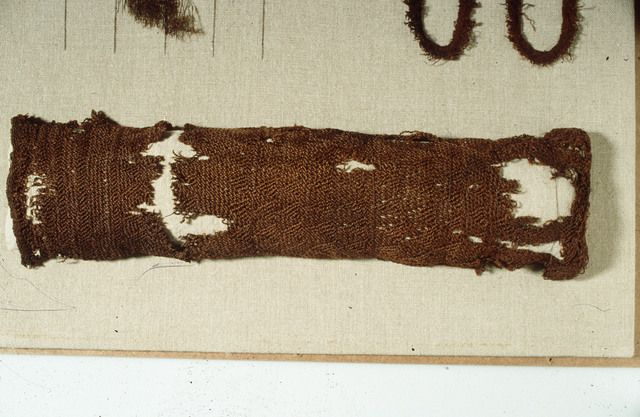 "Photo of the sprang stocking, or sleeve, from Tegle, Norway. It also has a tablet-woven border. Dated 3-5th c. in ""Prehistoric Textiles"" by E.J.W. Barber."