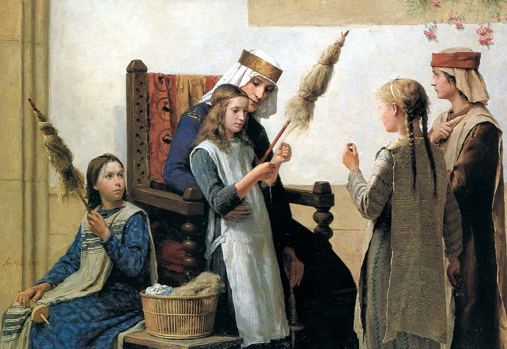Queen Berthe  instructing girls to spin flax on  spindles  using distaffs,  Albert Anker , 1888