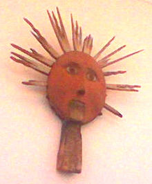 Idol  of the Sun used for peasant rituals in the 19th century. Photo credit Wikipedia.