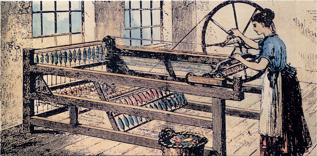 Woman using the spinning jenny in a factory.