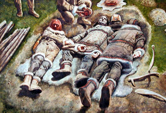 Artist rendition of burial of three youths at Dolni Věstonice.