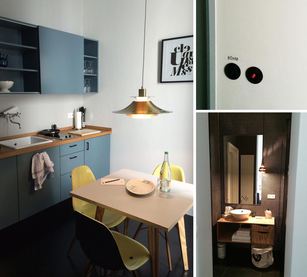 Bad und Küchenbereich im Apartment 'Böhm', in der 2. Etage