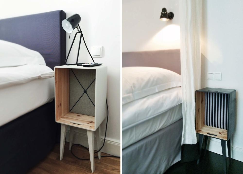 Der Nachttisch, ein Eigenentwurf der Architektin Sandra Pauquet