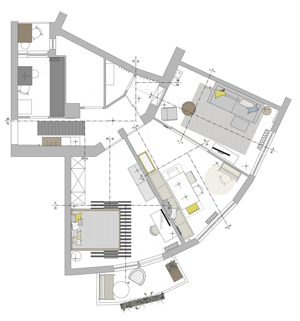 Der Grundriss der 3-Raum-Wohnung