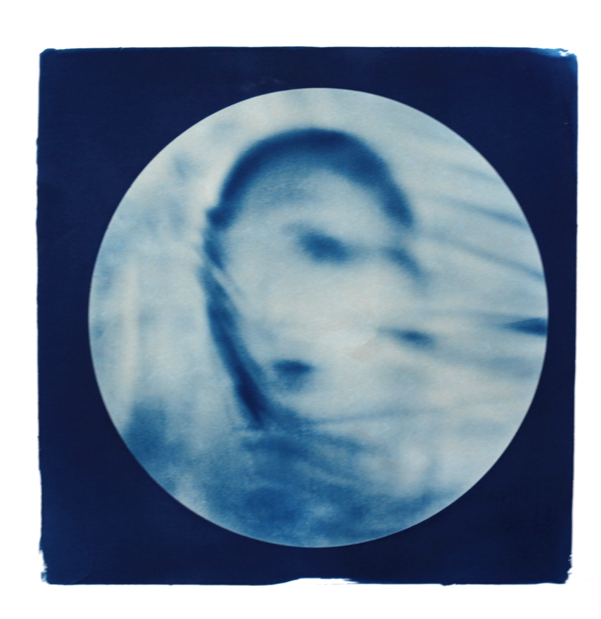 "Cathy Dutertre, Cyanotype print form a digital negative, 14""x14"" on Cansonmedia, 2014"