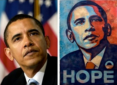 Photograph by Mannie Garcia (AP) / Artwork by Shepard Fairey