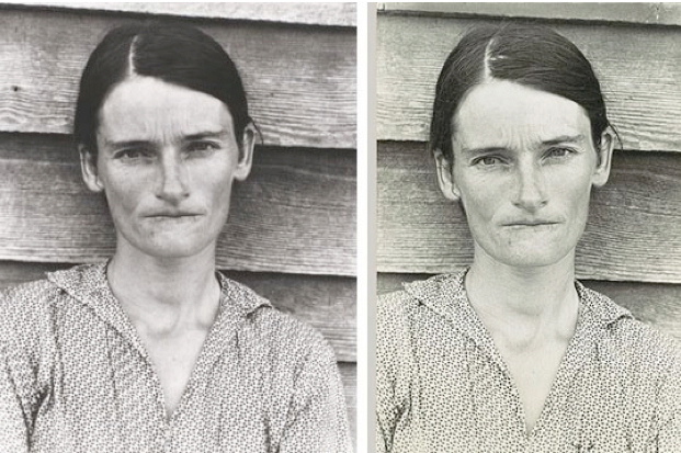 Photograph by Walker Evans, 1936 / Re-photographed by Sherry Levine, 1981