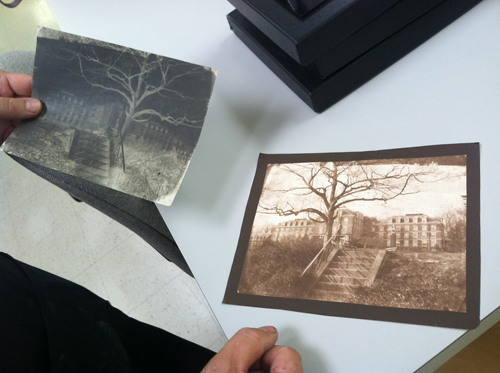 Here is a real waxed calotype negative and a salted paper print made from it. (The Photo Place Bus)