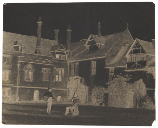 William Henry Fox Talbot, Two Men in the North Courtyard of Lacock Abbey, 1841-1844, calotype negative, waxed, 15.9 x 20.0 cm, corners rounded. (Kraus)