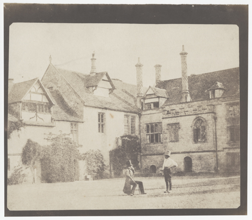 William Henry Fox Talbot, Two Men in the North Courtyard of Lacock Abbey, 1841-1844, salt print from a calotype negative,15.9 x 20.0 cm on 18.4 x 21.0 cm paper. (Kraus)