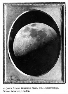 Here is an example of a pretty famous daguerreotype. This is the first known photographic image of the moon. It was taken by John Whipple in 1851. (Rayazansky)
