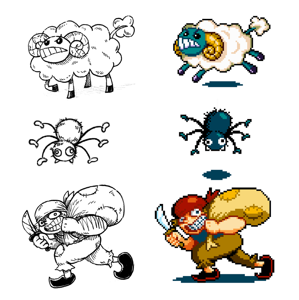 From concept art to graphical sprites, these are enemies the heroes will encounter in the game.