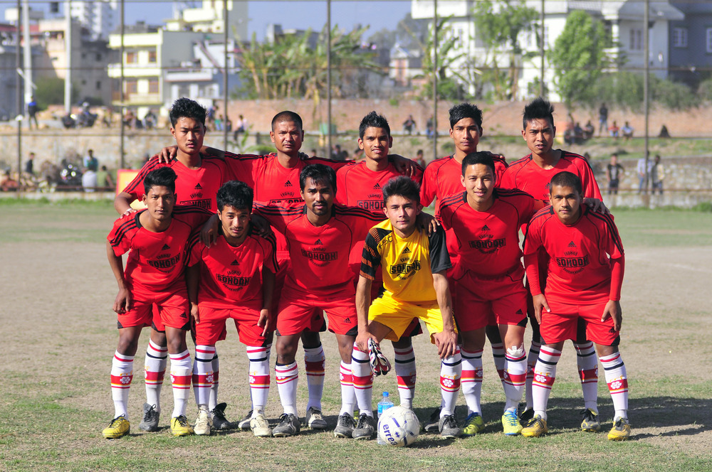 Young men's soccer team sponsored by Soho Design House.