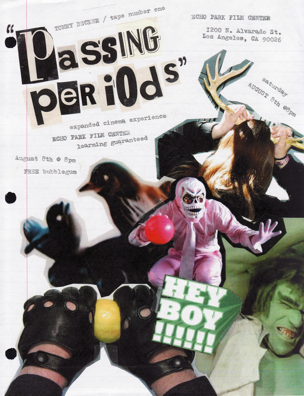 """Passing Periods"", Echo Park Film Center, Los Angeles, CA , photo collage xerox print on notebook paper, 11"" x8.5"", 2015"
