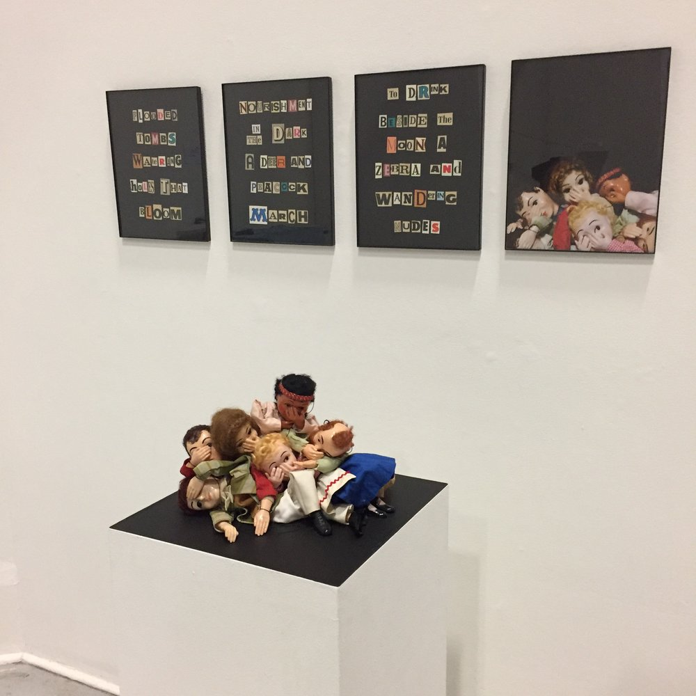 """Catastrophe & Convenience"", installation shot, collage & giclee print with marionettes, 2016"
