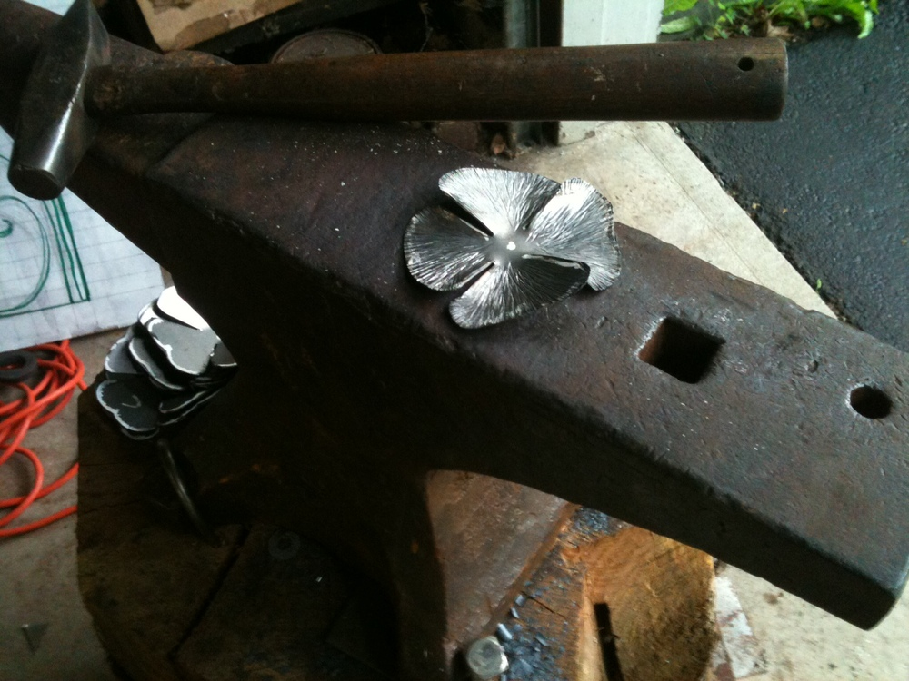Texturing the rose petals on the anvil