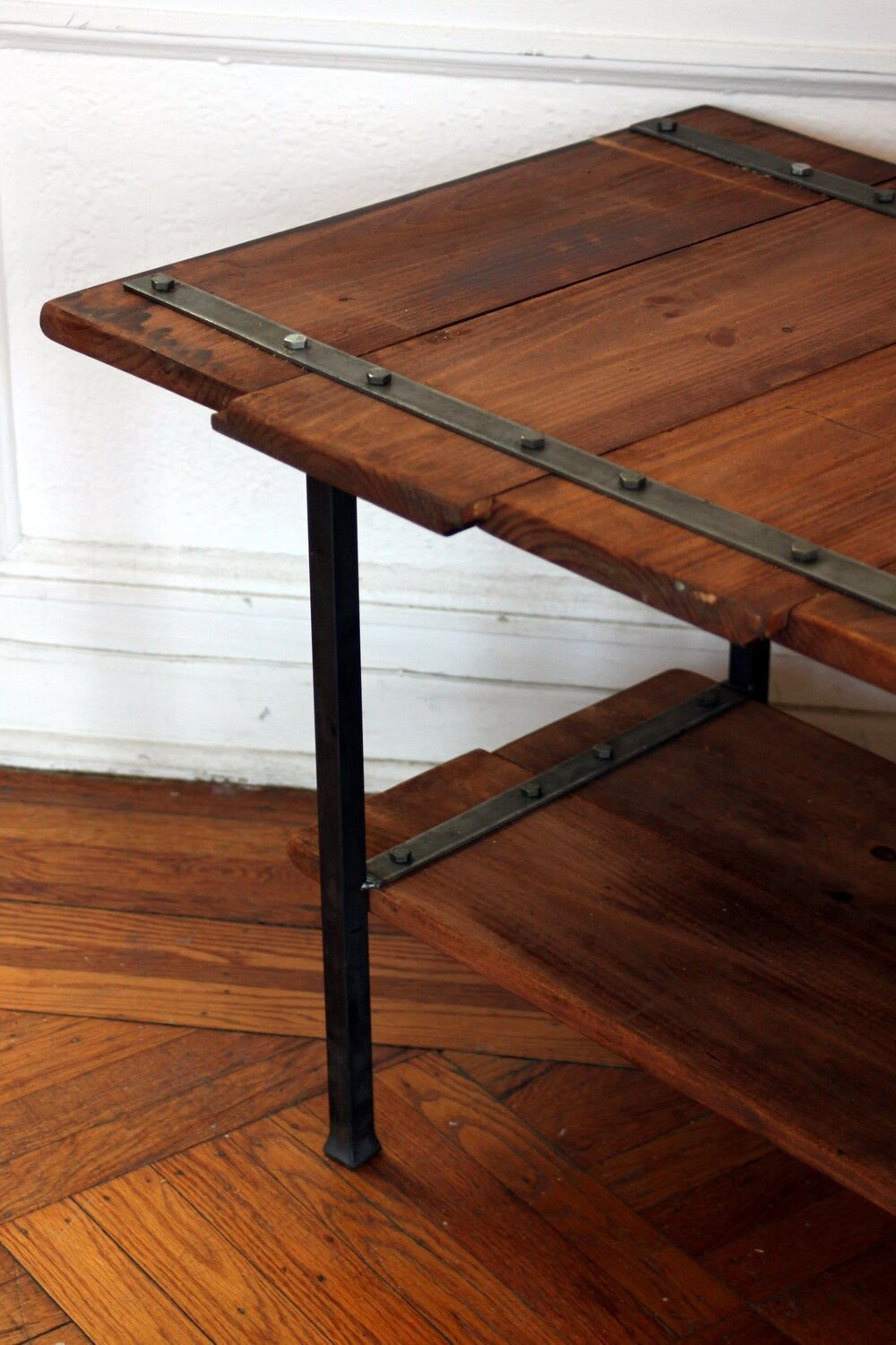 Salvaged shiplap pine and forged steel coffee table