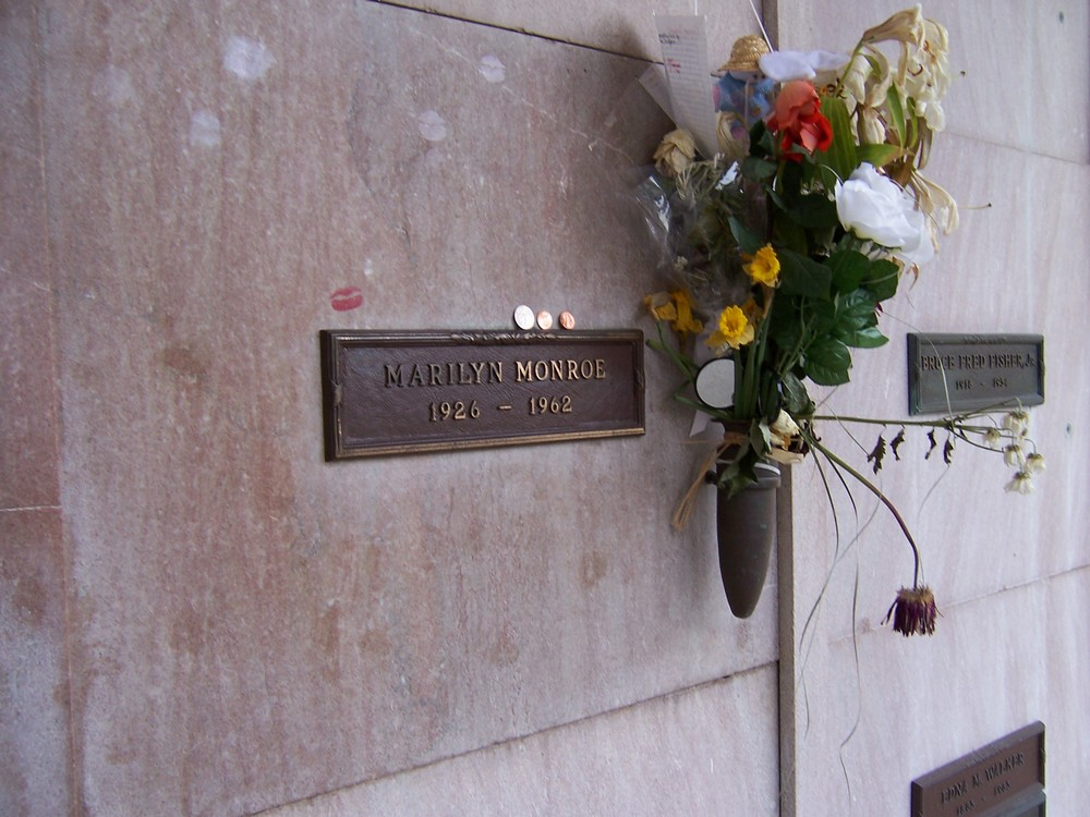 Marilyn Monroe's crypt in Memorial Park Cemetery in Los Angeles, California