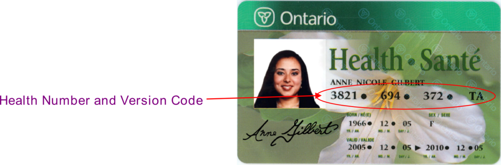 Source: Health Card Validation Reference Manual - Ontario