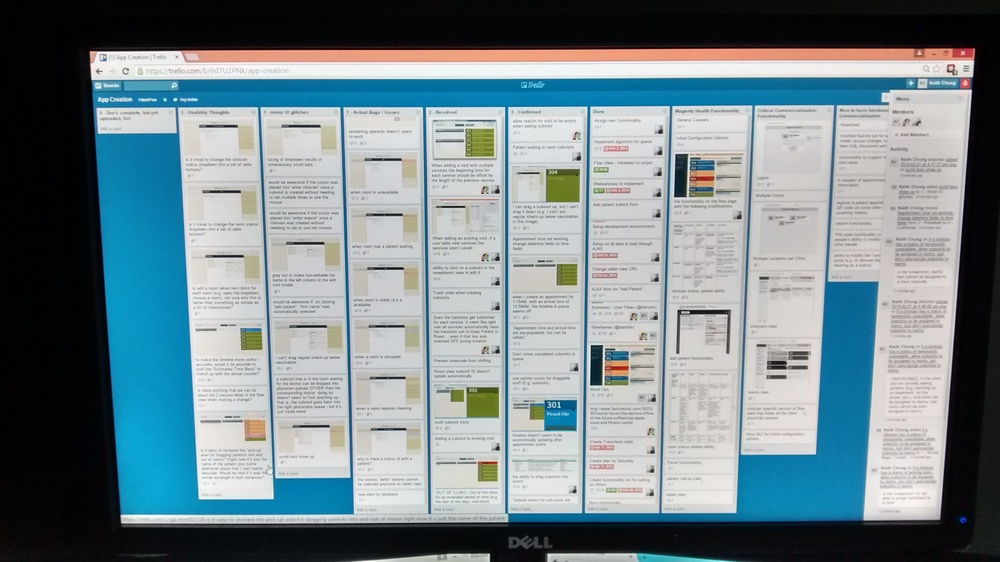 Lists upon lists upon lists of features and bugs.   We're using  Trello , which we love.