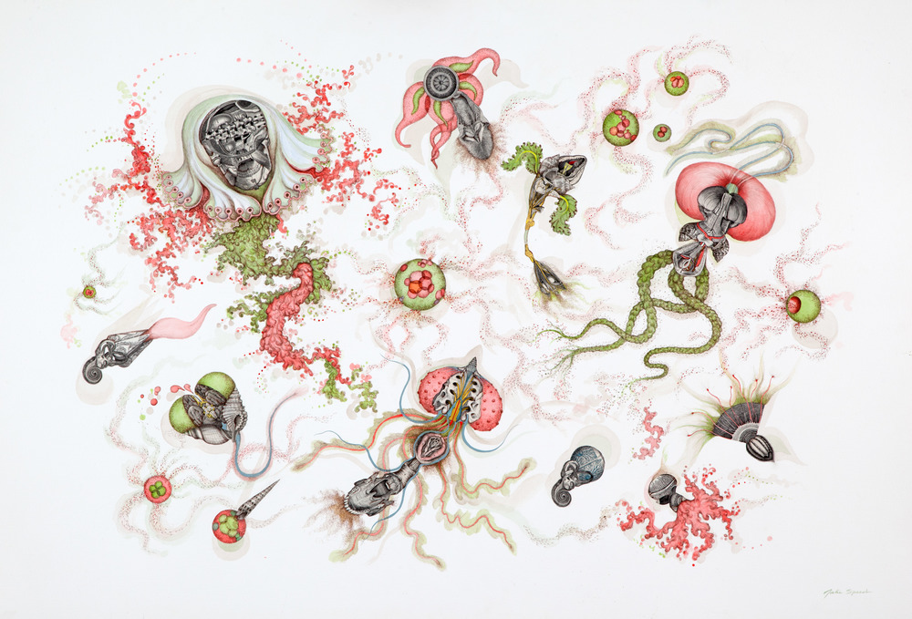 In Flagrante Again, 2013 gouache, collage and sepia ink, 40 x 59 inches