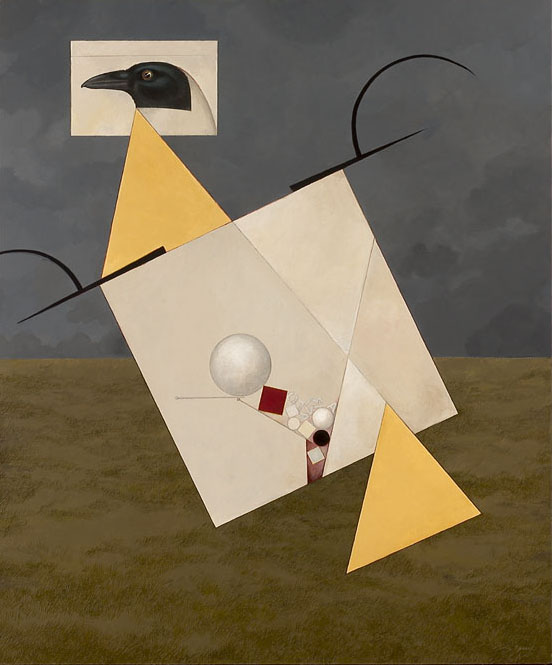 The Murder of Kasimir Malevich # 8 (Cropduster) 2003 acrylic & collage on panel, 36 x 30 inches