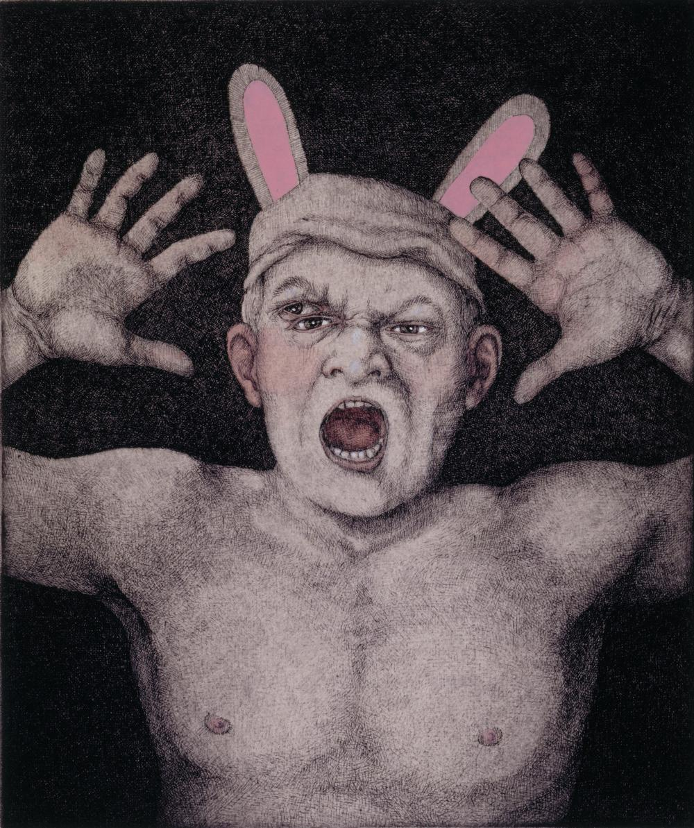 Bunnyman,  2001 etching with gouache, ed. 70, 10 x 8.50 inches