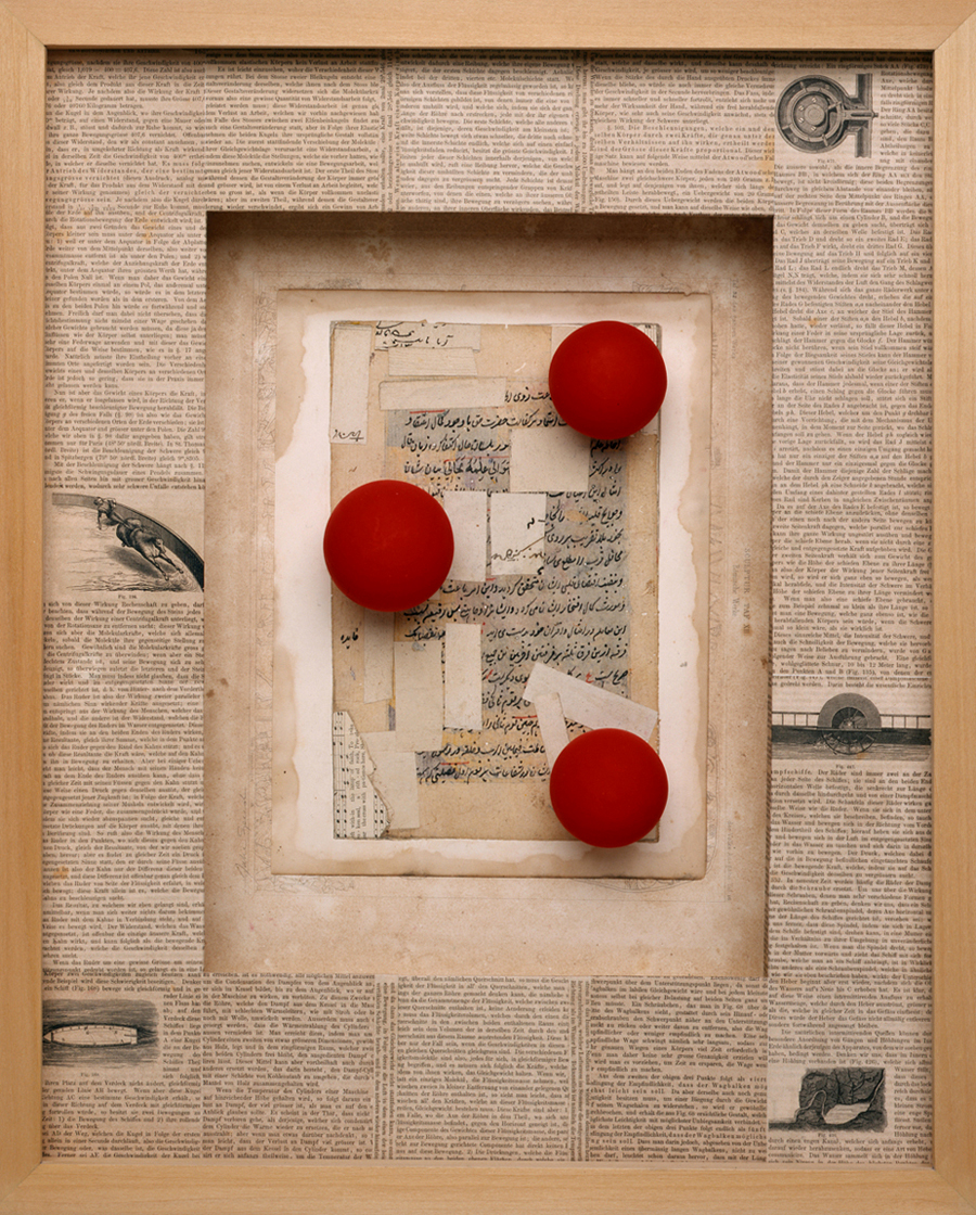 Equilibrium (Big Red Balls) 2007 mixed media box