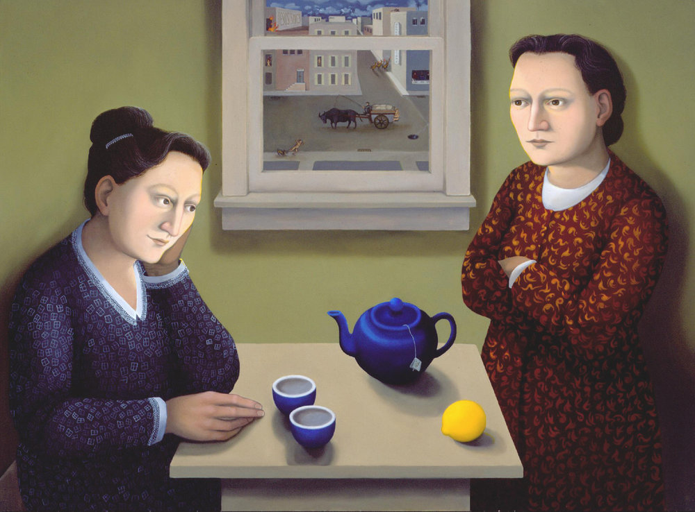 Tea 1999  oil on panel,  22 x 30 inches. Collection of Tim and Nancy Hanley