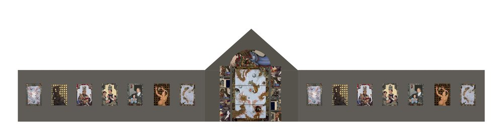 "Plan B - instead of video we build a  stationary lightbox altarpiece triptych that fits together like a stained glass window. Advantage  would be that all the boxes would be printed, built and lit the same way so that the room will feel like all it's ""windows"" opening into the same world. . Music would be independent.                 The disadvantage to this is that is totally dilutes the DANCE/CHURCH concept but it's a pretty good backup plan IF the video just can't be visually tuned to the light boxes. I'm pretty sure it can, it'll just be a process of finding the right projector (one with color adjustments) and screen (or screen paint or scrim or......)"