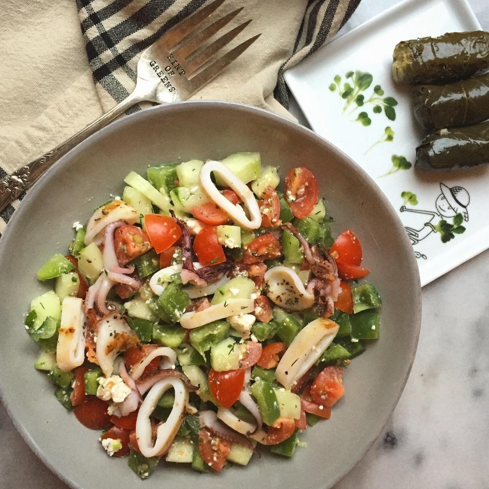 greek salad calamari
