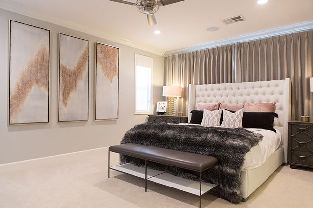 Our client wanted a blush color pallet (but we wanted her husband to like it as well) so we added just enough without tipping the scales too much to the feminine side. . . . . #masterbedroom #bedroomdecor #blushdecor #bedroomlighting #classyinteriors #interiordesign #design #furniture #homedecor #homedesign #interiorandhome #interior4all #interiordecor #interiors #decoration #interiordecoration #decor #luxuryhomes #dreamhome #interior123 #homestyling #whiteinterior #livingroomdecor  #stylediaries #vintertid #interior #interiorstyling