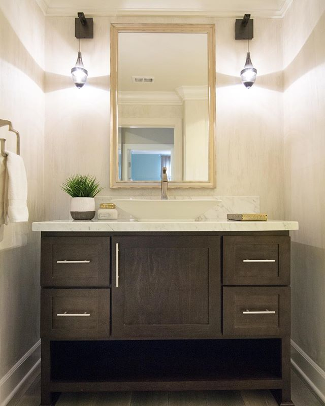 Always remember the bathrooms! Love these drop sconces - we went with the dark gray tinted glass and a custom textured faux finish on the walls instead of wallpaper. . . . . #bathroomdesign #bathroomlighting #classyinteriors #interiordesign #design #furniture #homedecor #homedesign #interiorandhome #interior4all #interiordecor #interiors #decoration #interiordecoration #decor #luxuryhomes #dreamhome #interior123 #homestyling #whiteinterior #livingroomdecor  #stylediaries #vintertid #interior #interiorstyling