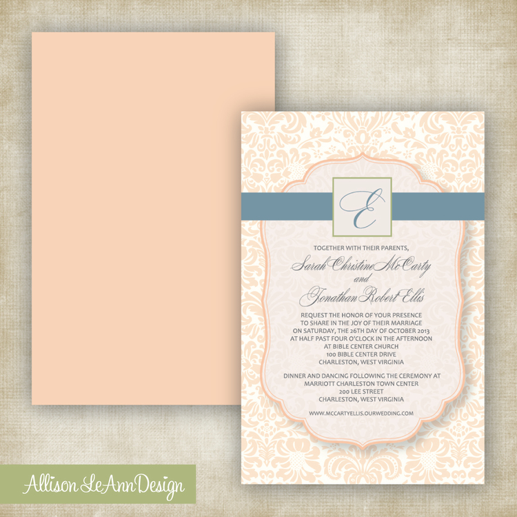 PEACH, NATURAL GREEN & SLATE BLUE DAMASK // Wedding Invitation ...
