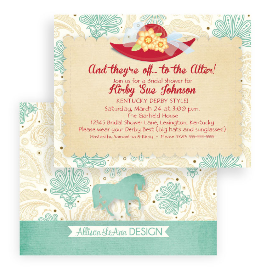 Off to the alter kentucky derby theme teal cream red off to the alter kentucky derby theme teal cream red weddingbridal shower invitation filmwisefo